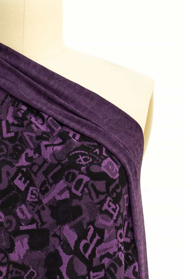 Purple Letters French Jacquard Knit