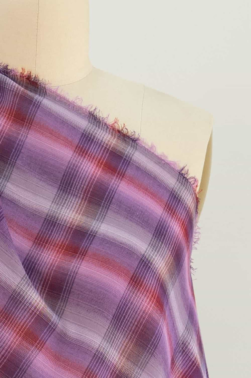 Purple Plaid Cotton Lawn Woven