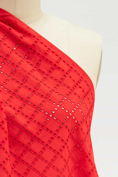 Red Blocks Cotton Eyelet Woven