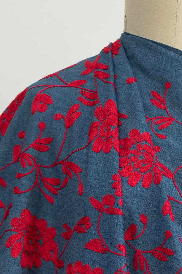 Red Blooms Embroidered Cotton Denim Woven