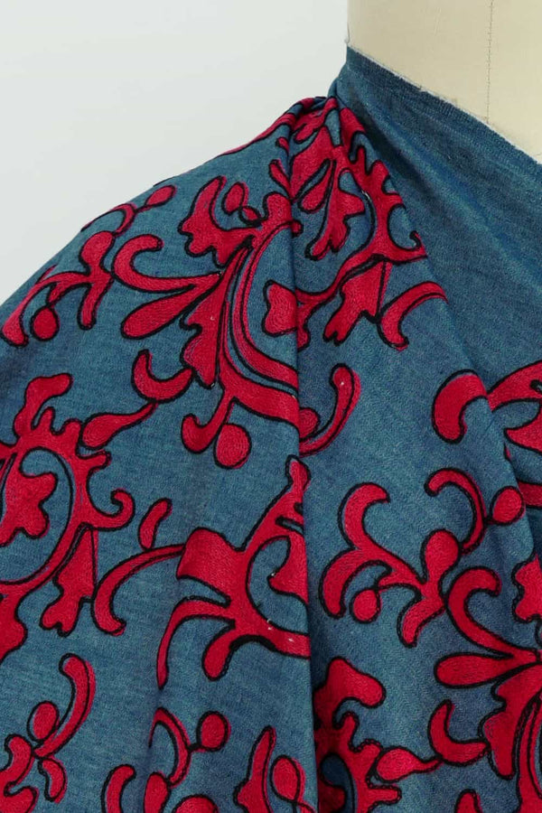 Red Embroidered Denim Woven