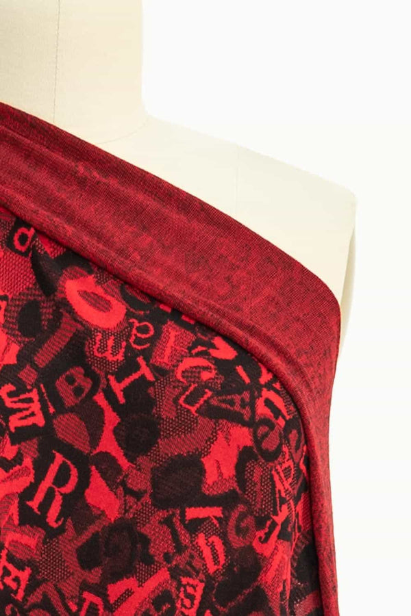 Red Letters French Jacquard Knit