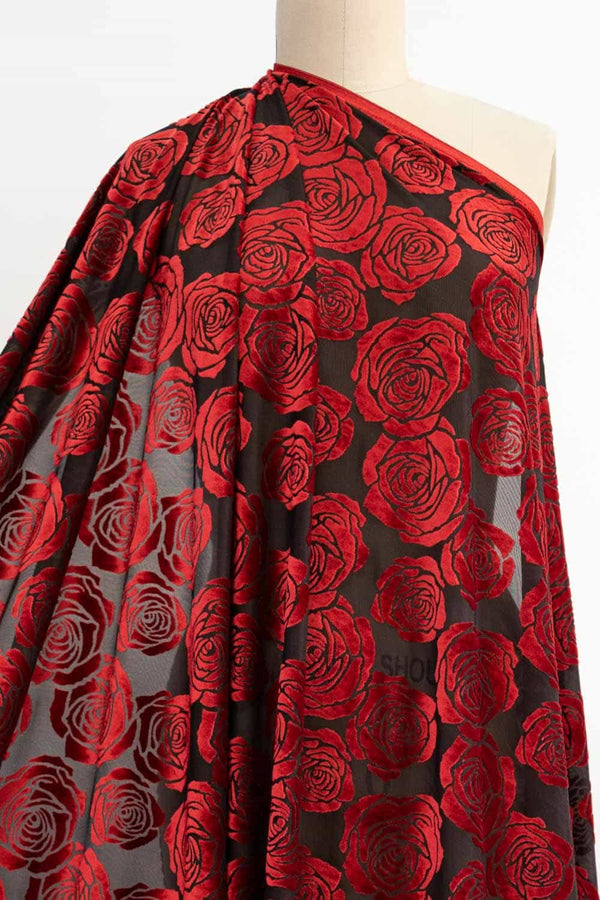 Red Roses Burnout Velvet Knit