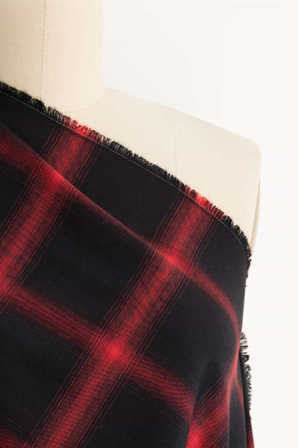 Red Shadow Plaid Japanese Cotton Flannel Woven