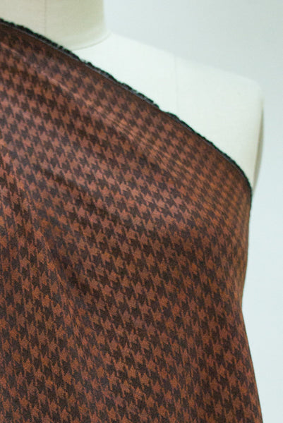 Rust Houndstooth Rayon Woven