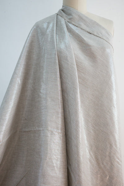 Silver Light Lightweight Metallic Linen Woven