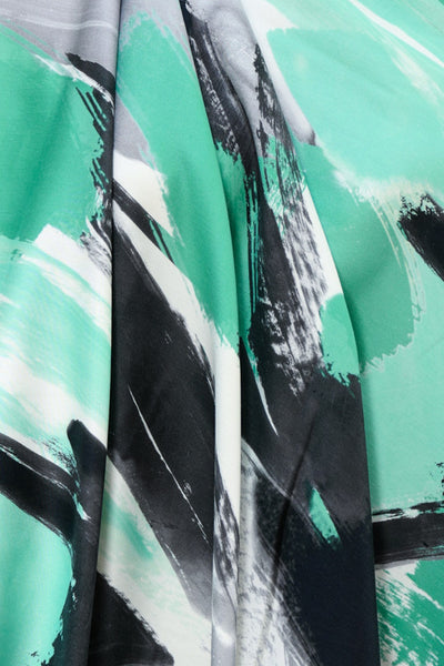 Spearmint Swirl French Digital Print Stretch Cotton Woven