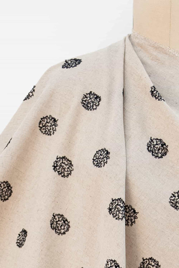 Stitched Dots Ecru Japanese Linen/Cotton Woven