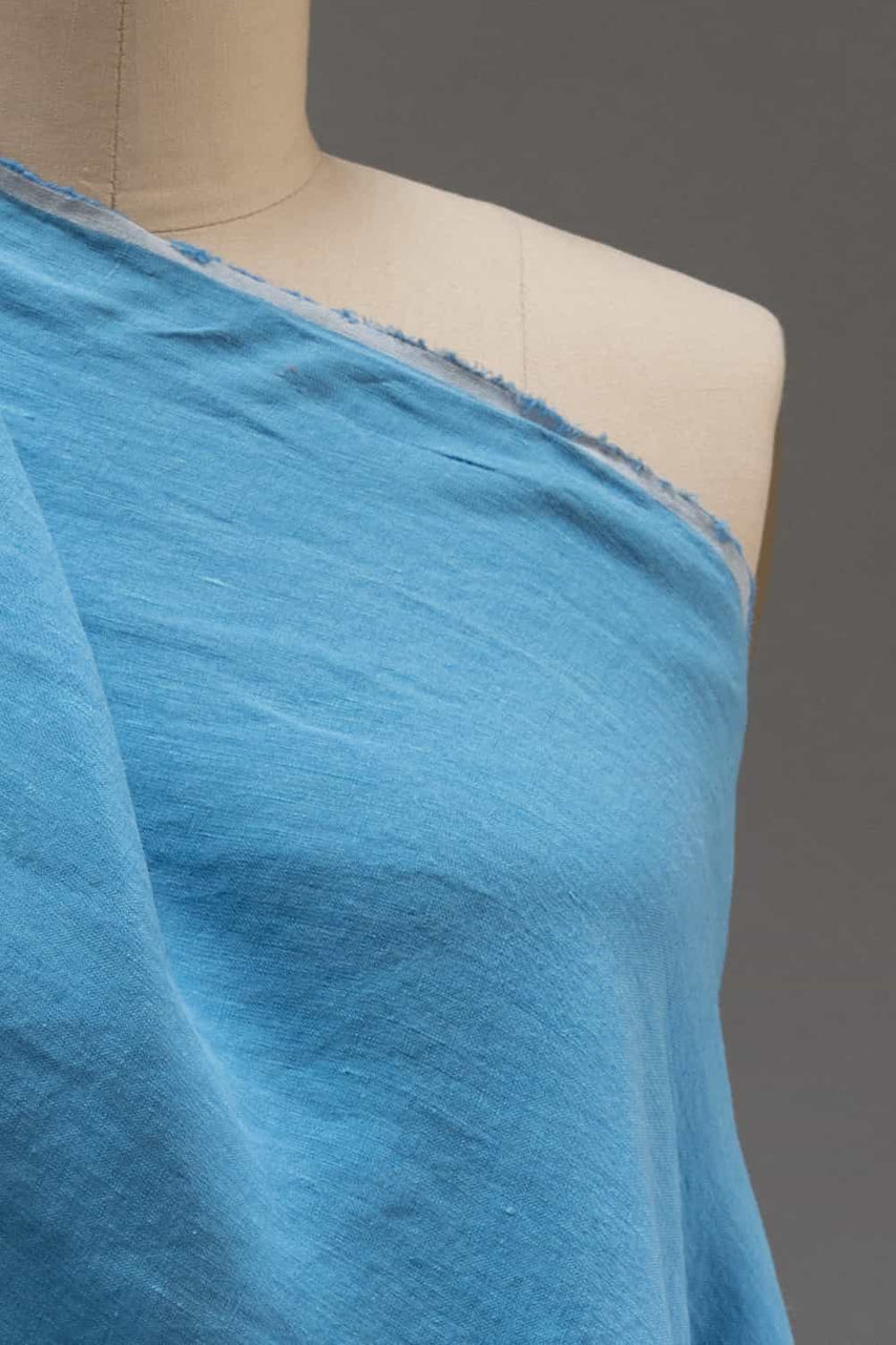 Summer Sky Blue Washed Linen Woven