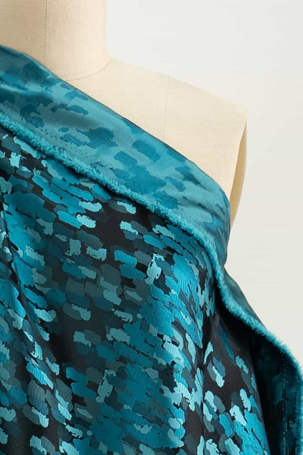 Theo Turquoise Jacquard Woven