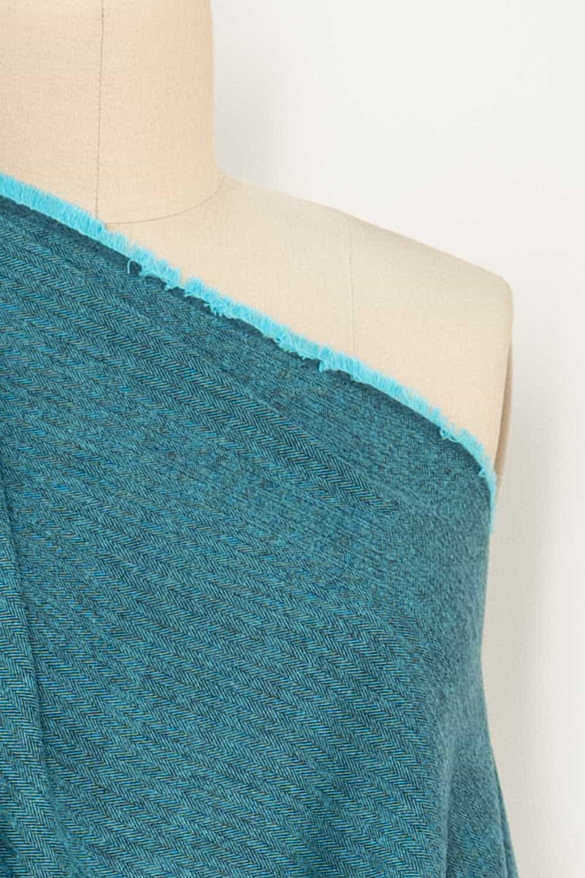 Turquoise Herringbone Cotton Flannel Woven