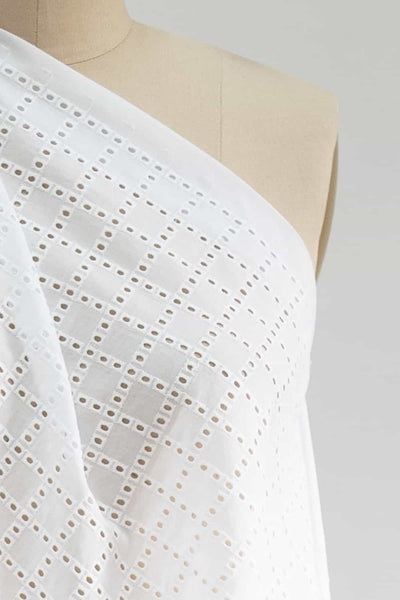 White Blocks Cotton Eyelet Woven