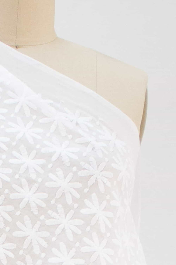 White Embroidered Daisy Woven