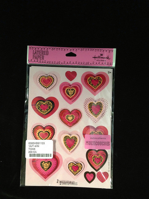 #0300VSS1133 - ELEGANT HEARTS STICKERS  -  200/CASE