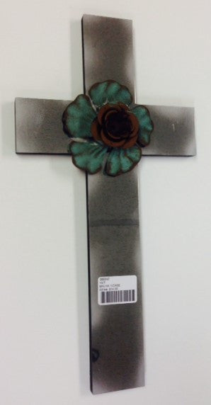 "#066942 - 14""H ANTIQUE MIRROR WALL CROSS  -  1/CASE"