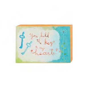 "#115791 - 6""W CANVAS WALL BLOCK-KEY TO MY HEART  -  48/CASE"