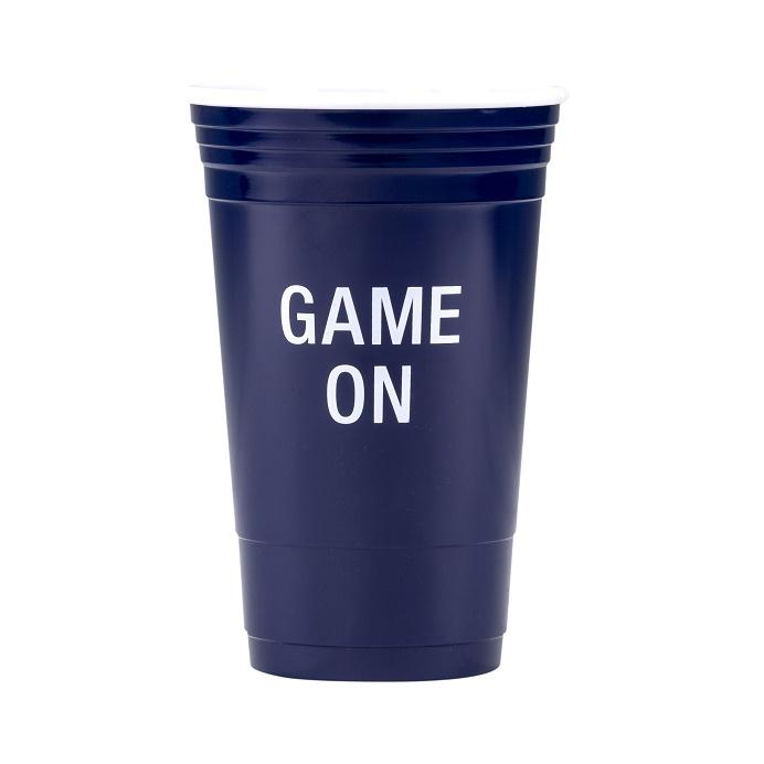 #124867 - 16 OZ. REUSEABLE PARTY CUPS GAME ON-NAVY BLUE  -  24/CASE