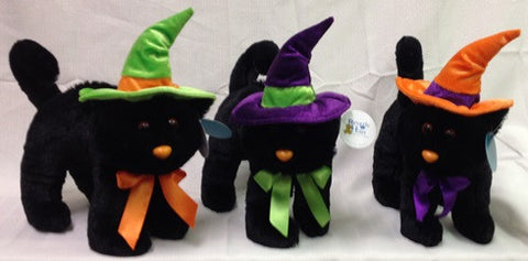 "#13294 - 10"" PLUSH SPOOKY CATS ASST  -  24/CASE"