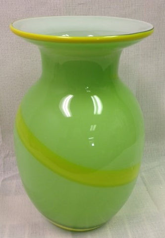 #13401 - GREEN GLASS VASE W/STRIPE EABX  -  4/CASE