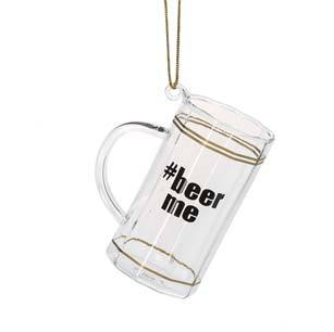 #142650 - #BEER ME GLASS ORNAMENT.  -  72/CASE