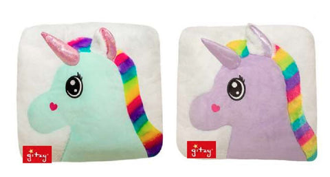 "#158219 - 15X15""PLUSH UNICORN PILLOW 2AT YUNICE  -  6/CASE"