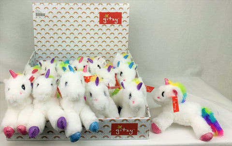 "#158264 - 8""PLUSH RATTLE UNICORNS YUNICE  -  72/CASE"