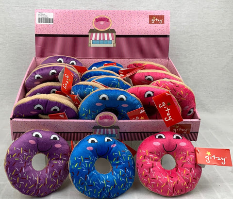 "#158325 - 4"" PLUSH RATTLE DONUTS 3AT  -  72/CASE"