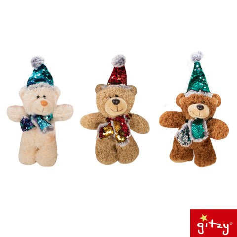 "#160670 - 8""SEQUIN WINTER BEARS 3AT  -  72/CASE"