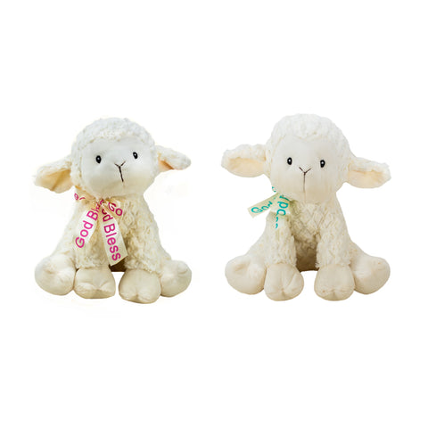 "#160847 - 11.5""GOD BLESS LAMBS W/RIBBON  -  12/CASE"