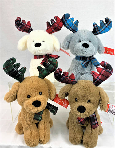 "#170860 - 9""PLUSH PUPPIES W/ANTLERS 4AT .  -  24/CASE"