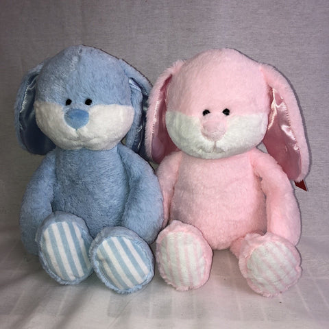 "#183723 - 10""BLUE & PINK RATTLE BUNNIES  -  24/CASE"