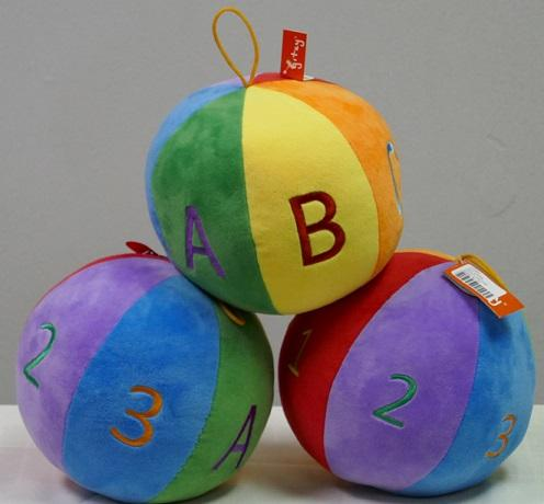 "#210801 - 7"" PLUSH CHIME BALL-ABC,123  -  24/CASE"