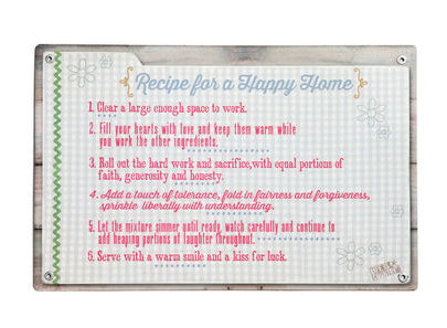 3005210318 15x975sign Recipe For Happy Home 24case The