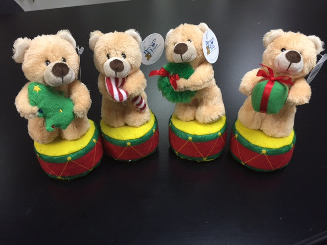 "#30186 - 7.5"" HOLIDAY BEARS ON DRUM  -  48/CASE"