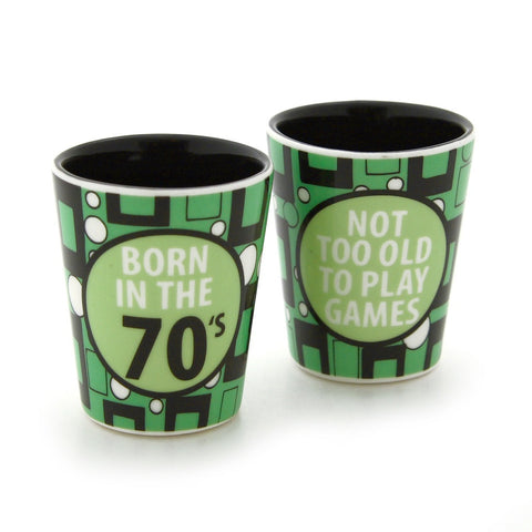 #4034996 - 1 OZ. 70'S CERAMIC SHOT GLASS  -  72/CASE