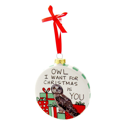 "#4041540 - HOOTS 4.25""ORNAMENT-OWL I WANT  -  24/CASE"