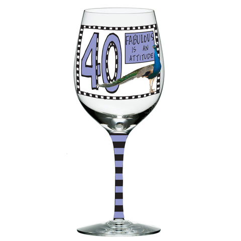 #4041553 - HOOTS WINE GLASS 40TH B'DAY  -  16/CASE