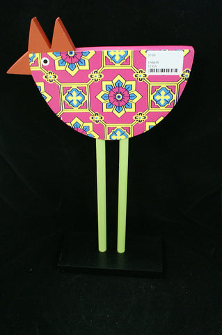 "#5798 - MT.13.5""TALL WOODEN CHICKENS PINK GEOMETRIC  -  12/CASE"