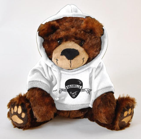 "#612113NV - 8"" RUFUS BEAR BROWN AND WHITE W/NASHVILLE HOODIE  -  48/CASE"
