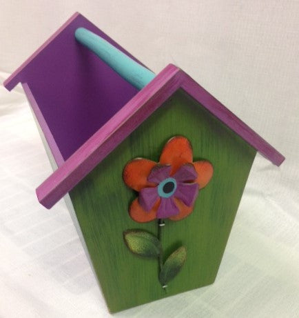 "#633182 - 11.5""FLORAL BIRD HOUSE CADDY  -  4/CASE"