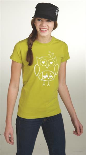 #709887 - LOVE OWL T-SHIRT COTTON GRN MD  -  72/CASE