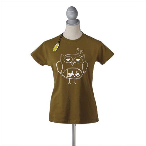 #709900 - LOVE OWL GREEN T-SHIRT LG.  -  72/CASE