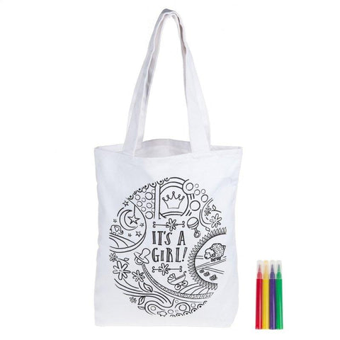 "#7104329 - COLOR ME ""IT'S A GIRL"" TOTE W/4 MARKERS 14""X3.25""  -  48/CASE"