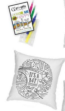 "#7104332 - COLOR ME ""IT'S A BOY"" 16""SQ. PILLOW W/4 MARKERS  -  12/CASE"