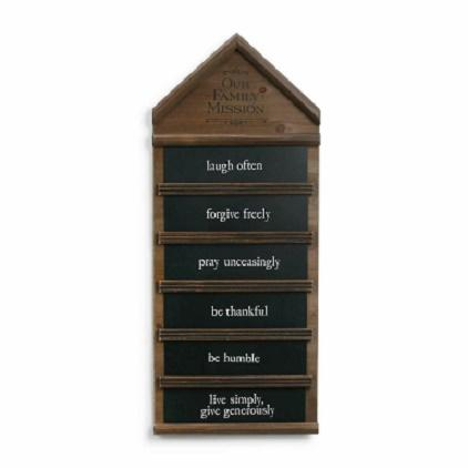 "#8020170022 - OUR FAMILY MISSION STATEMENT 24""H X 14""W W/CHALK  -  1/CASE"