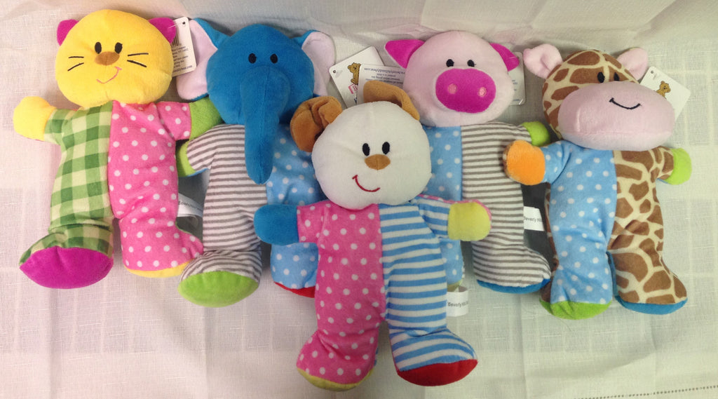 "#91329 - 9"" PLUSH POLKADOOZLES RATTLE ANIMALS  -  60/CASE"