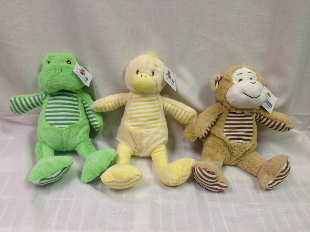 "#91740 - 9"" STRIPED BABY RATTLE ANIMALS  -  36/CASE"