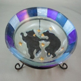 "#B5050030 - 6""D GLASS DANCING BEARS CANDY DISH  -  12/CASE"