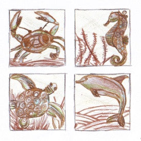 "#B5170160 - 4""SQ. S/4 SEALIFE COASTERS  -  24/CASE"