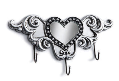 "#B5210273 - 9.5X5.5"" WINGED HEART TRIPLE HOOK W/MIRROR WALL ART  -  12/CASE"